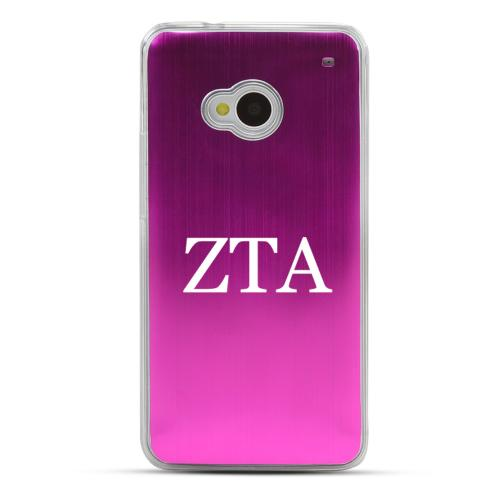 Zeta Tau Alpha - Geeks Designer Line Laser Series Hot Pink Aluminum Back on Clear Hard Case for HTC One