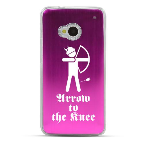 Arrow to the Knee - Geeks Designer Line Laser Series Hot Pink Aluminum Back on Clear Hard Case for HTC One