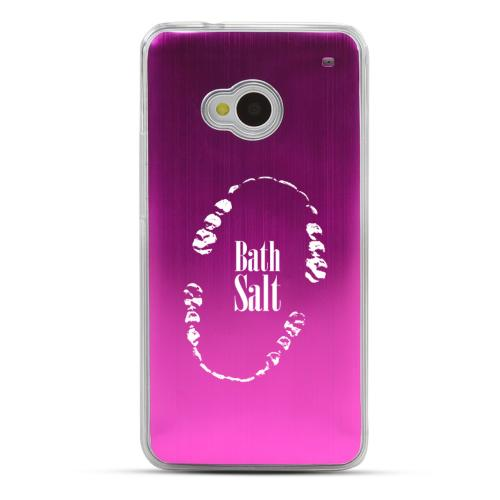 Bath Salt Teeth - Geeks Designer Line Laser Series Hot Pink Aluminum Back on Clear Hard Case for HTC One