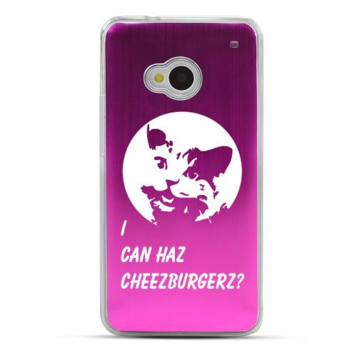 I Can Haz Cheezburgerz? - Geeks Designer Line Laser Series Hot Pink Aluminum Back on Clear Hard Case for HTC One
