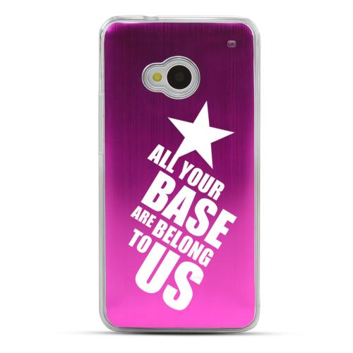All Your Base Are Belong To Us - Geeks Designer Line Laser Series Hot Pink Aluminum Back on Clear Hard Case for HTC One