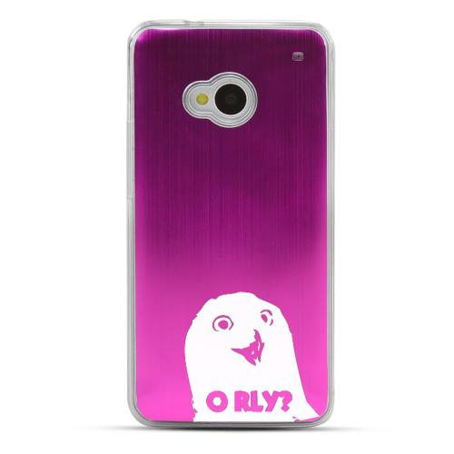 O RLY? - Geeks Designer Line Laser Series Hot Pink Aluminum Back on Clear Hard Case for HTC One
