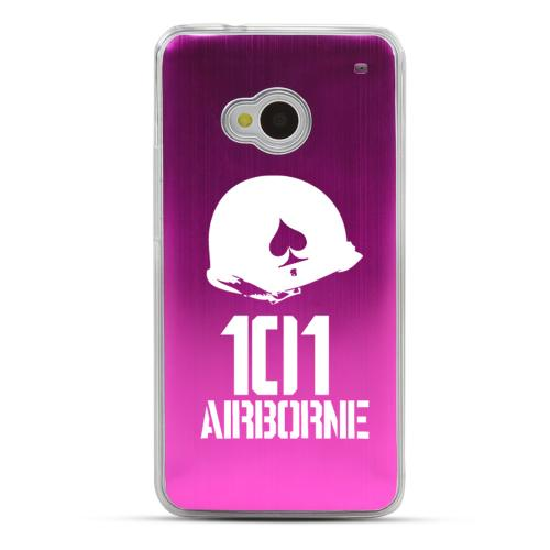 101st Airborne - Geeks Designer Line Laser Series Hot Pink Aluminum Back on Clear Hard Case for HTC One