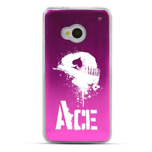 Ace Helmet - Geeks Designer Line Laser Series Hot Pink Aluminum Back on Clear Hard Case for HTC One