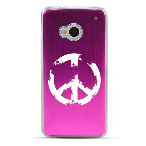 Grunge Peace Sign - Geeks Designer Line Laser Series Hot Pink Aluminum Back on Clear Hard Case for HTC One