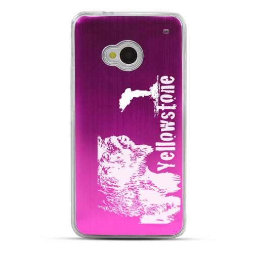 Yellowstone - Geeks Designer Line Laser Series Hot Pink Aluminum Back on Clear Hard Case for HTC One