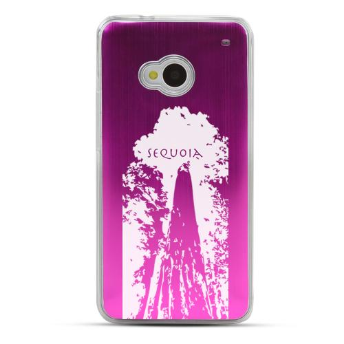 Sequoia Tree - Geeks Designer Line Laser Series Hot Pink Aluminum Back on Clear Hard Case for HTC One