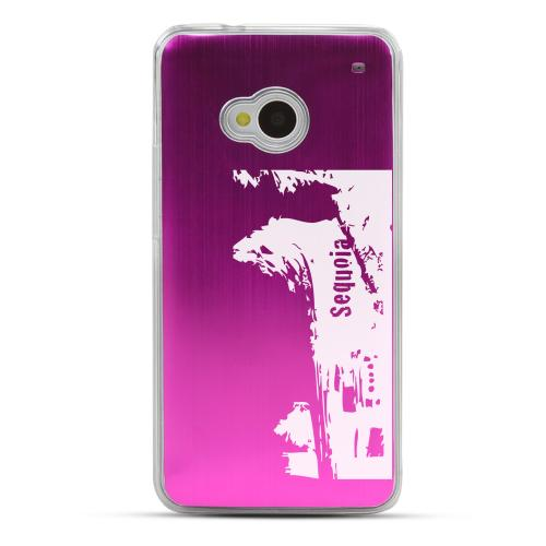 Sequoia Fallen Tree Tunnel - Geeks Designer Line Laser Series Hot Pink Aluminum Back on Clear Hard Case for HTC One