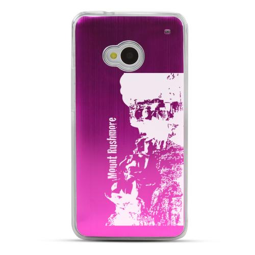 Mount Rushmore - Geeks Designer Line Laser Series Hot Pink Aluminum Back on Clear Hard Case for HTC One