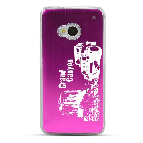 Grand Canyon - Geeks Designer Line Laser Series Hot Pink Aluminum Back on Clear Hard Case for HTC One
