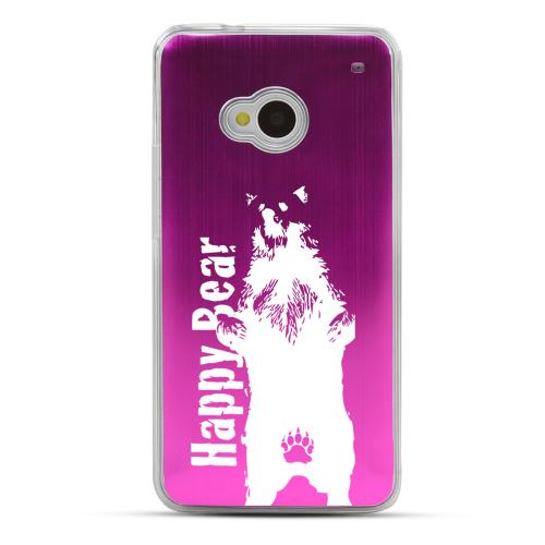 Happy Bear - Geeks Designer Line Laser Series Hot Pink Aluminum Back on Clear Hard Case for HTC One