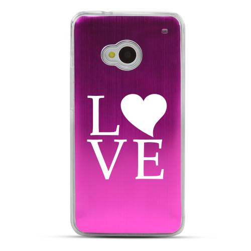Love - Geeks Designer Line Laser Series Hot Pink Aluminum Back on Clear Hard Case for HTC One