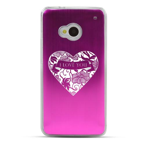 I Love You - Geeks Designer Line Laser Series Hot Pink Aluminum Back on Clear Hard Case for HTC One