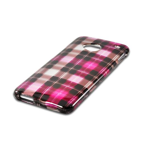 Plaid Pattern of Pink/ Hot Pink/ Brown/ Gray Hard Case for HTC One