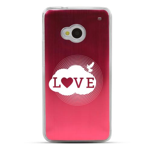 Love Cloud - Geeks Designer Line Laser Series Red Aluminum Back on Clear Hard Case for HTC One