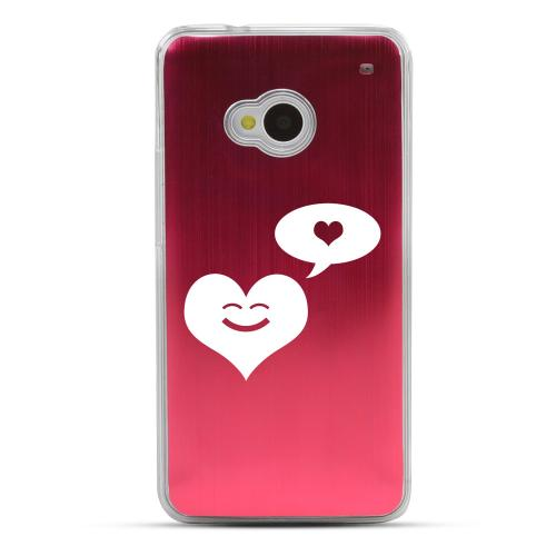 Heart Dreamer - Geeks Designer Line Laser Series Red Aluminum Back on Clear Hard Case for HTC One