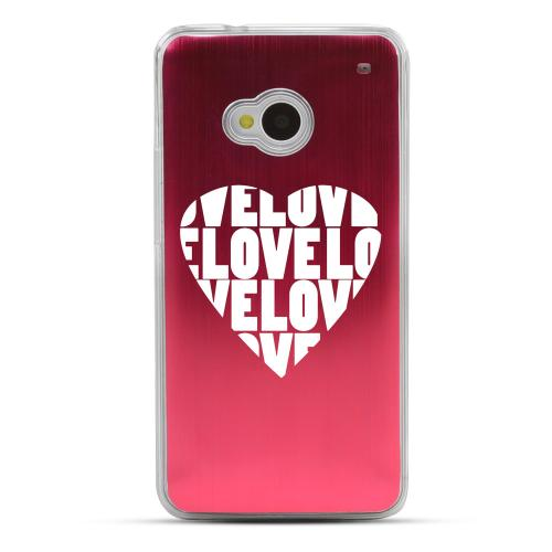 Love Heart - Geeks Designer Line Laser Series Red Aluminum Back on Clear Hard Case for HTC One