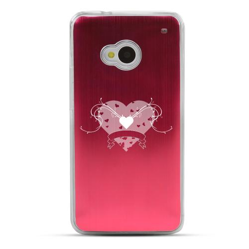Heart Swirls - Geeks Designer Line Laser Series Red Aluminum Back on Clear Hard Case for HTC One