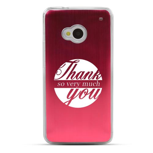 Thank You So Very Much - Geeks Designer Line Laser Series Red Aluminum Back on Clear Hard Case for HTC One