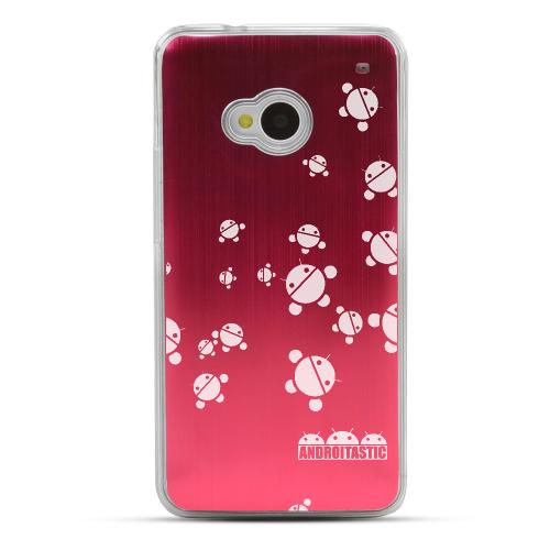Bubble Bot Invasion - Geeks Designer Line Laser Series Red Aluminum Back on Clear Hard Case for HTC One