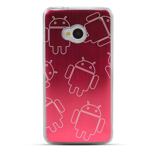 Androitastic - Geeks Designer Line Laser Series Red Aluminum Back on Clear Hard Case for HTC One