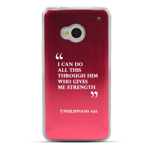 Philippians 4:13 - Geeks Designer Line Laser Series Red Aluminum Back on Clear Hard Case for HTC One