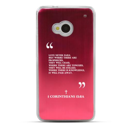 1 Corinthians 13:8A - Geeks Designer Line Laser Series Red Aluminum Back on Clear Hard Case for HTC One