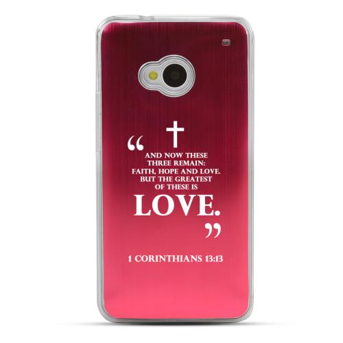 1 Corinthians 13:13 - Geeks Designer Line Laser Series Red Aluminum Back on Clear Hard Case for HTC One