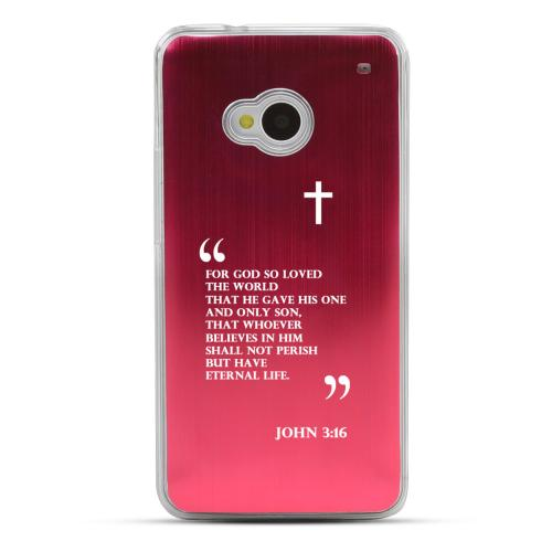 John 3:16 - Geeks Designer Line Laser Series Red Aluminum Back on Clear Hard Case for HTC One