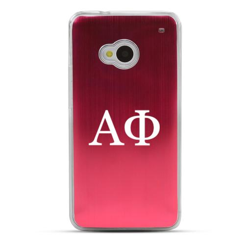 Alpha Phi - Geeks Designer Line Laser Series Red Aluminum Back on Clear Hard Case for HTC One