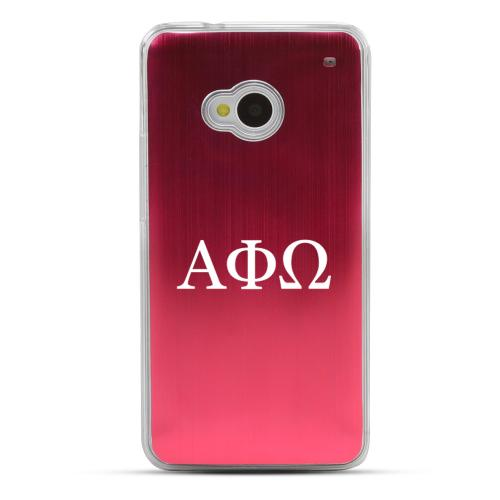 Alpha Phi Omega - Geeks Designer Line Laser Series Red Aluminum Back on Clear Hard Case for HTC One