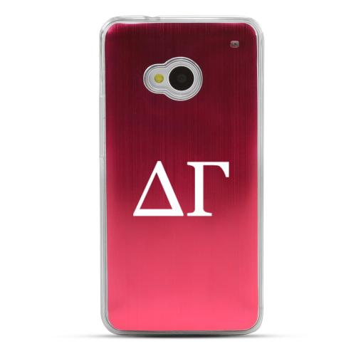Delta Gamma - Geeks Designer Line Laser Series Red Aluminum Back on Clear Hard Case for HTC One