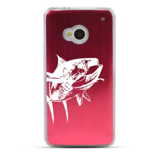 Yellowfin - Geeks Designer Line Laser Series Red Aluminum Back on Clear Hard Case for HTC One