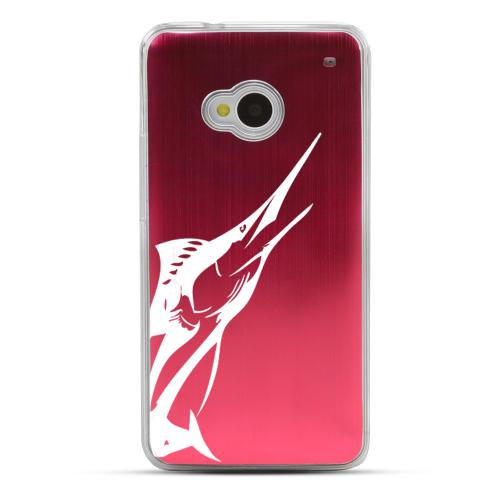 Marlin - Geeks Designer Line Laser Series Red Aluminum Back on Clear Hard Case for HTC One
