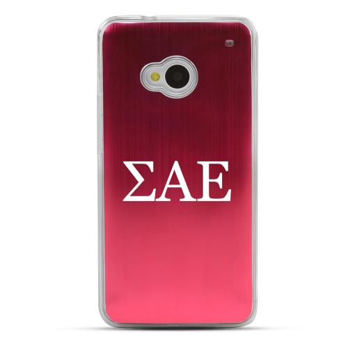 Sigma Alpha Epsilon - Geeks Designer Line Laser Series Red Aluminum Back on Clear Hard Case for HTC One