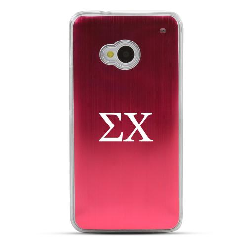 Sigma Chi - Geeks Designer Line Laser Series Red Aluminum Back on Clear Hard Case for HTC One