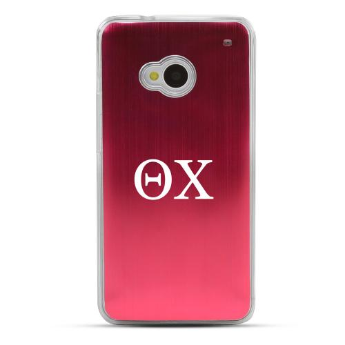 Theta Chi - Geeks Designer Line Laser Series Red Aluminum Back on Clear Hard Case for HTC One