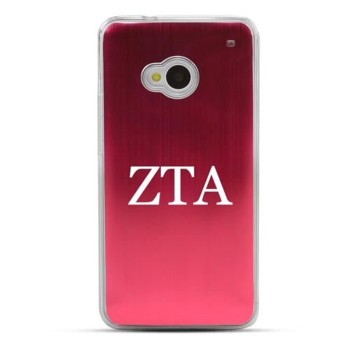 Zeta Tau Alpha - Geeks Designer Line Laser Series Red Aluminum Back on Clear Hard Case for HTC One