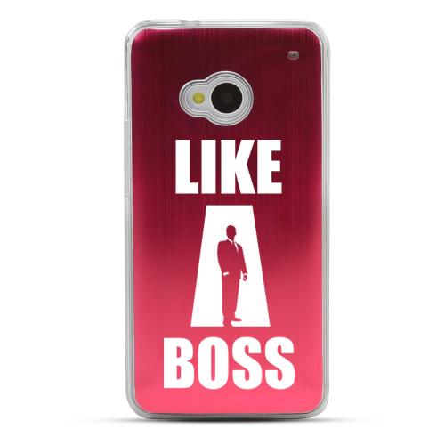 Like A Boss - Geeks Designer Line Laser Series Red Aluminum Back on Clear Hard Case for HTC One