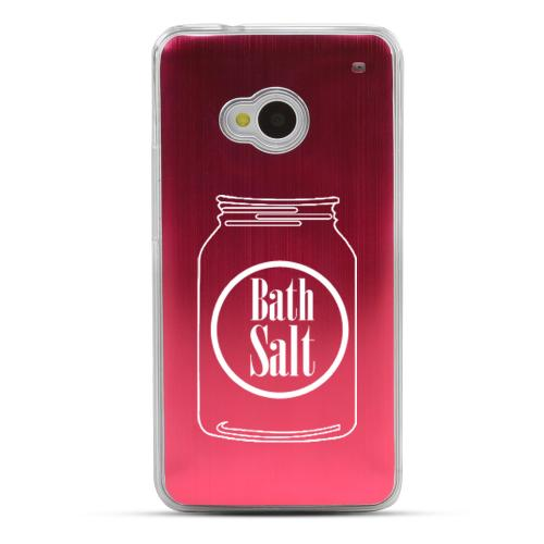 Bath Salt Jar - Geeks Designer Line Laser Series Red Aluminum Back on Clear Hard Case for HTC One