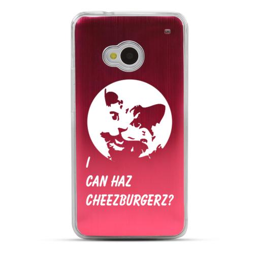 I Can Haz Cheezburgerz? - Geeks Designer Line Laser Series Red Aluminum Back on Clear Hard Case for HTC One