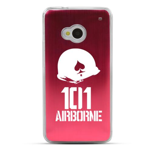 101st Airborne - Geeks Designer Line Laser Series Red Aluminum Back on Clear Hard Case for HTC One