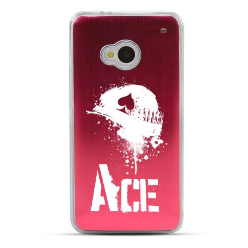 Ace Helmet - Geeks Designer Line Laser Series Red Aluminum Back on Clear Hard Case for HTC One