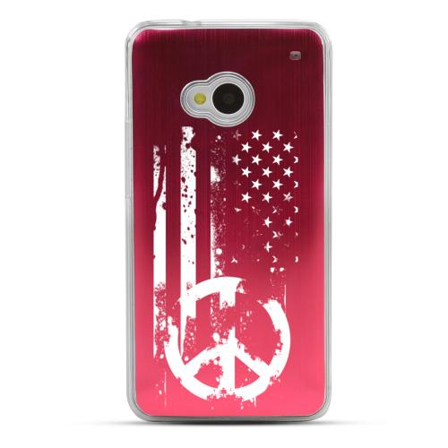 Grunge Flag - Geeks Designer Line Laser Series Red Aluminum Back on Clear Hard Case for HTC One
