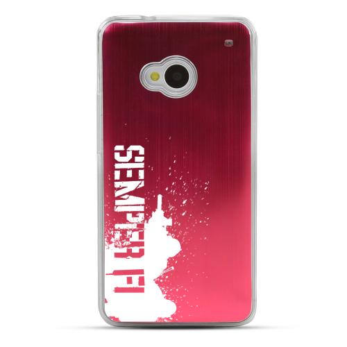 Marine - Geeks Designer Line Laser Series Red Aluminum Back on Clear Hard Case for HTC One