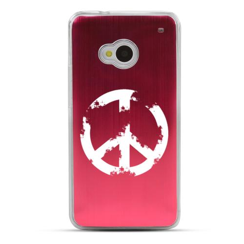 Grunge Peace Sign - Geeks Designer Line Laser Series Red Aluminum Back on Clear Hard Case for HTC One