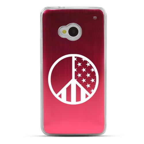U.S. Peace Sign - Geeks Designer Line Laser Series Red Aluminum Back on Clear Hard Case for HTC One