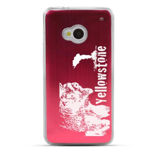 Yellowstone - Geeks Designer Line Laser Series Red Aluminum Back on Clear Hard Case for HTC One