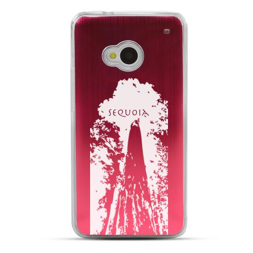 Sequoia Tree - Geeks Designer Line Laser Series Red Aluminum Back on Clear Hard Case for HTC One
