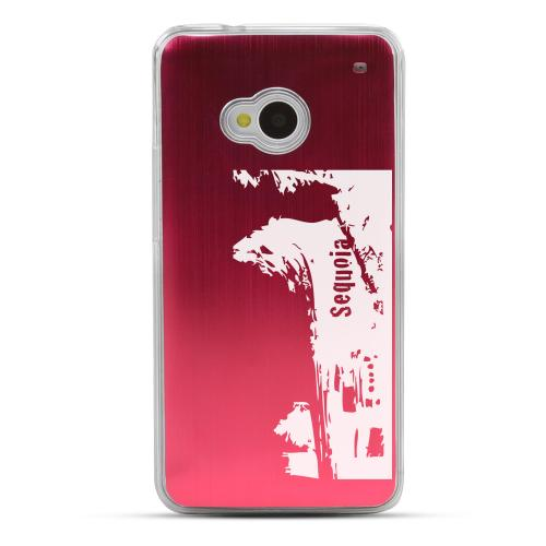 Sequoia Fallen Tree Tunnel - Geeks Designer Line Laser Series Red Aluminum Back on Clear Hard Case for HTC One